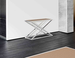 CONSOLE TABLE AMARA SANDSTONE BROWN POLISHED STAINLESS STEEL 106x44x70 CM (ST016GB)