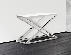 CONSOLE TABLE AMARA WHITE ACID ETCHED POLISHED STAINLESS STEEL 106x44x70 CM (ST016LWA)