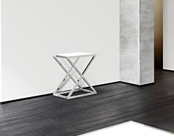 CONSOLE TABLE AMARA WHITE LACQUERED POLISHED STAINLESS STEEL 62x40x70 CM (ST007LW)