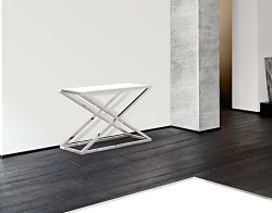 CONSOLE TABLE AMARA WHITE LACQUERED POLISHED STAINLESS STEEL 106x44x70 CM (ST016LW)