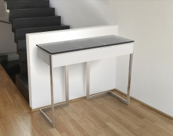 CONSOLE TABLE CONDUCTION TIROIR TINTED GREY POLISHED STAINLESS STEEL 95x36x75 CM (ST015G)