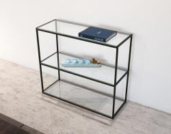 CONSOLE TABLE JULIA - CONSOLE HAUTE CLEAR BLACK EPOXY PAINTED STEEL 103x38x90 CM (SH005CS)