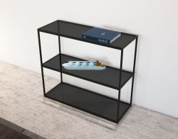 CONSOLE TABLE JULIA - CONSOLE HAUTE TINTED GREY BLACK EPOXY PAINTED STEEL 103x38x90 CM (SH005G)