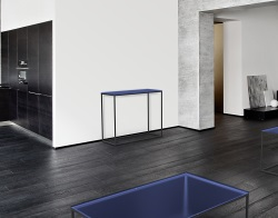 CONSOLE TABLE JULIA BLUE TINTED BLACK EPOXY PAINTED STEEL 100x38x80 CM (ST180B)