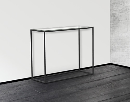 3b530659a42e CONSOLE TABLE JULIA CLEAR BLACK EPOXY PAINTED STEEL 100x38x80 CM (ST180C)
