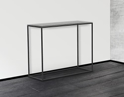 CONSOLE TABLE JULIA GREY ACID ETCHED BLACK EPOXY PAINTED STEEL 100x38x80 CM (ST180LGA)