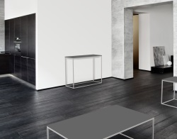 CONSOLE TABLE JULIA LACQUERED GREY BRUSHED STAINLESS STEEL 100x38x80 CM (ST182LG)