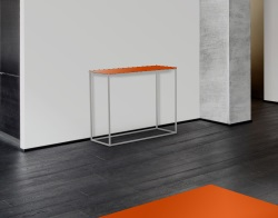 CONSOLE TABLE JULIA LACQUERED ORANGE BRUSHED STAINLESS STEEL 100x38x80 CM (ST182LO)