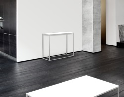 CONSOLE TABLE JULIA WHITE ACID ETCHED BRUSHED STAINLESS STEEL 100x38x80 CM (ST182LWA)
