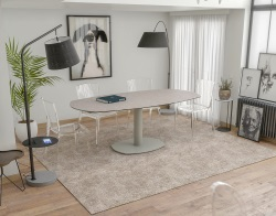 DINING TABLE ARTICA BASE ACIER LAQUÉ ARGILE CERAMICS FLINT GREY LACQUERED STEEL 130/200x100x76 CM (DT030AR)