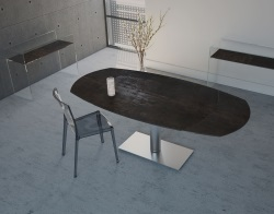 DINING TABLE ARTICA BASE INOX STEEL CERAMICS BRUSHED STAINLESS STEEL 130/200x100x75 CM (DT021SD)