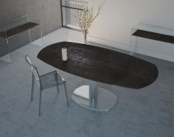 DINING TABLE ARTICA BASE VERRE STEEL CERAMICS BRUSHED STAINLESS STEEL 130/200x100x75 CM (DT020SD)