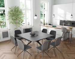 DINING TABLE FASCINATION TITANIUM CERAMICS BLACK LACQUERED STEEL 150x90/150x76 CM (DT086TI)