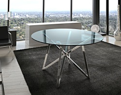DINING TABLE FLORA BLUE TINTED POLISHED STAINLESS STEEL Ø120x75 CM (DT014B)