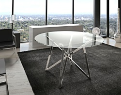 DINING TABLE FLORA CRYSTAL POLISHED STAINLESS STEEL Ø120x75 CM (DT014R)
