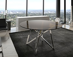 DINING TABLE FLORA SEPIA POLISHED STAINLESS STEEL Ø120x75 CM (DT014P)