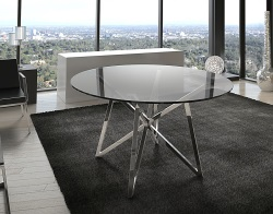 DINING TABLE FLORA TINTED GREY POLISHED STAINLESS STEEL Ø120x75 CM (DT014G)