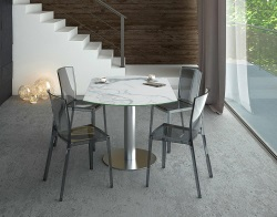DINING TABLE LUNA MAT MARBLE CERAMICS BRUSHED STAINLESS STEEL 90/135x135x76 CM (DT018MA)