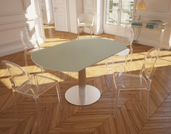 DINING TABLE LUNA PEARL GREY ACID ETCHED BRUSHED STAINLESS STEEL 90/135x135x76 CM (DT018LCA)