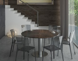 DINING TABLE LUNA STEEL CERAMICS BRUSHED STAINLESS STEEL 90/135x135x76 CM (DT018SD)