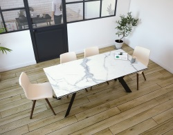 DINING TABLE ONTARIO MAT MARBLE CERAMICS BLACK LACQUERED STEEL 190/270x100x76 CM (DT044MA)