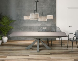 DINING TABLE OTTAWA ARGILE CERAMICS TAUPE GREY LACQUERED STEEL 190/270x100x76 CM (DT040AR)