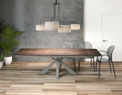 DINING TABLE OTTAWA STEEL CERAMICS LACQUERED STEEL 190/270x100x76 CM (DT040SD)
