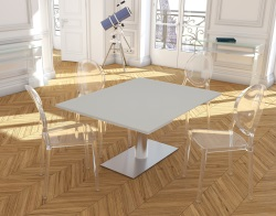DINING TABLE PANAMA WHITE ACID ETCHED BRUSHED STAINLESS STEEL 130/200x100x75 CM (DT022LWA)