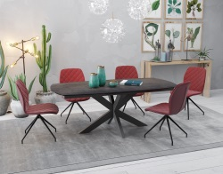 DINING TABLE PHOENIX STEEL CERAMICS BLACK LACQUERED STEEL 200/260x100x76 CM (DT070SD)