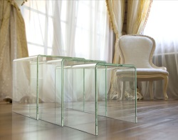 NEST OF TABLES OLIVEA UK CRYSTAL HOT BENT GLASS 34/38/42 CM (NT005R)