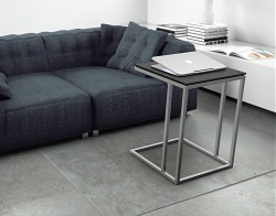 SIDE TABLE ALICIA GREY CERAMICS BRUSHED STAINLESS STEEL 50x50x66 CM (ET061CG)