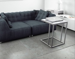 SIDE TABLE ALICIA MAT MARBLE CERAMICS BRUSHED STAINLESS STEEL 50x50x66 CM (ET061MA)