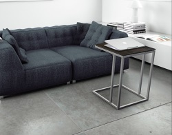 SIDE TABLE ALICIA STEEL CERAMICS BRUSHED STAINLESS STEEL 50x50x66 CM (ET061SD)