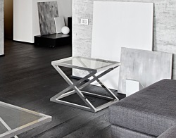 SIDE TABLE ARUNA CLEAR POLISHED STAINLESS STEEL 56x56x47 CM (ET032C)