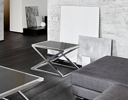 SIDE TABLE ARUNA LACQUERED BLACK POLISHED STAINLESS STEEL 65X65X47 CM (ET024LB)