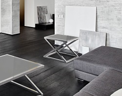 SIDE TABLE ARUNA LACQUERED GREY POLISHED STAINLESS STEEL 56x56x47 CM (ET032LG)