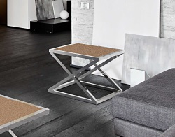 SIDE TABLE ARUNA SANDSTONE BROWN POLISHED STAINLESS STEEL 56x56x47 CM (ET032GB)