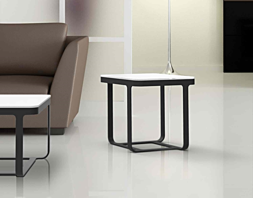 SIDE TABLE BIANCA WHITE ACID ETCHED BLACK EPOXY PAINTED STEEL