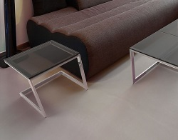 SIDE TABLE CONDUCTION LACQUERED GREY POLISHED STAINLESS STEEL 45x45x42 CM (ET036G)