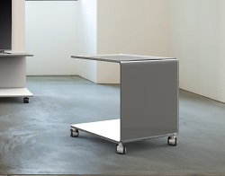 SIDE TABLE EMMA LACQUERED GREY HOT BENT GLASS 42x42x49 CM (ET073LG)