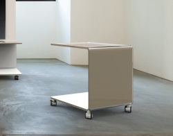 SIDE TABLE EMMA LACQUERED TAUPE HOT BENT GLASS 42x42x49 CM (ET073LT)