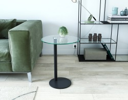 SIDE TABLE LISA CLEAR BLACK LACQUERED STEEL Dia. 44 X 58 CM (ET300)