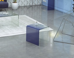 SIDE TABLE SEURAT BLUE HOT BENT GLASS 42x42x42 CM (ET078BL)
