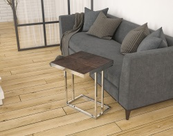 SIDE TABLE SIGMA STEEL CERAMICS POLISHED STAINLESS STEEL 50x50x66 CM (ET090SD)