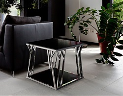 SIDE TABLE SPARTA LACQUERED BLACK POLISHED STAINLESS STEEL 65x50x50 CM (ET027B)