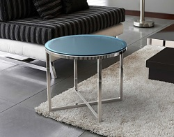 SIDE TABLE TALIA BLUE TINTED ACID ETCHED POLISHED STAINLESS STEEL Ø55x45 CM (ET023BA)