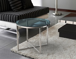 SIDE TABLE TALIA BLUE TINTED POLISHED STAINLESS STEEL Ø56x45 CM (ET023B)