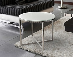SIDE TABLE TALIA CRYSTAL ACID ETCHED POLISHED STAINLESS STEEL Ø56x45 CM (ET023RA)