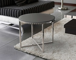 SIDE TABLE TALIA GREY TINTED ACID ETCHED POLISHED STAINLESS STEEL Ø55x45 CM (ET023GA)