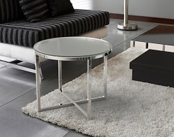 SIDE TABLE TALIA SAND BLASTED POLISHED STAINLESS STEEL Ø55x45 CM (ET023S)